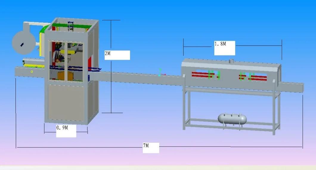 Automatikus ásványvíz palack zsugorító hüvely címkéző gép
