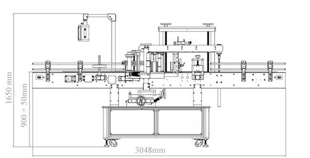 A kétfejű automatikus oldalak és a kerek palackcímkéző gép diagramja
