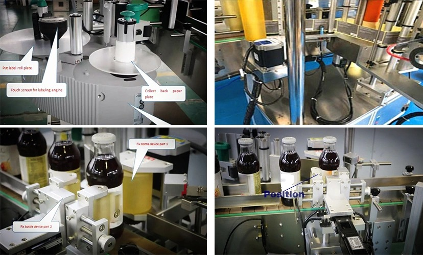 Gyári árú kerek palack automatikus rögzített helyzetű címkéző gép eladó