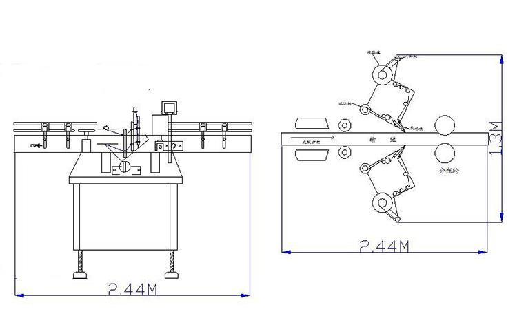 Lapos üveg kétoldalas címkéző gép különféle lapos négyzet alakú üvegedényhez